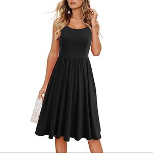 Spaghetti Straps Aline Swing Cotton Midi Dress
